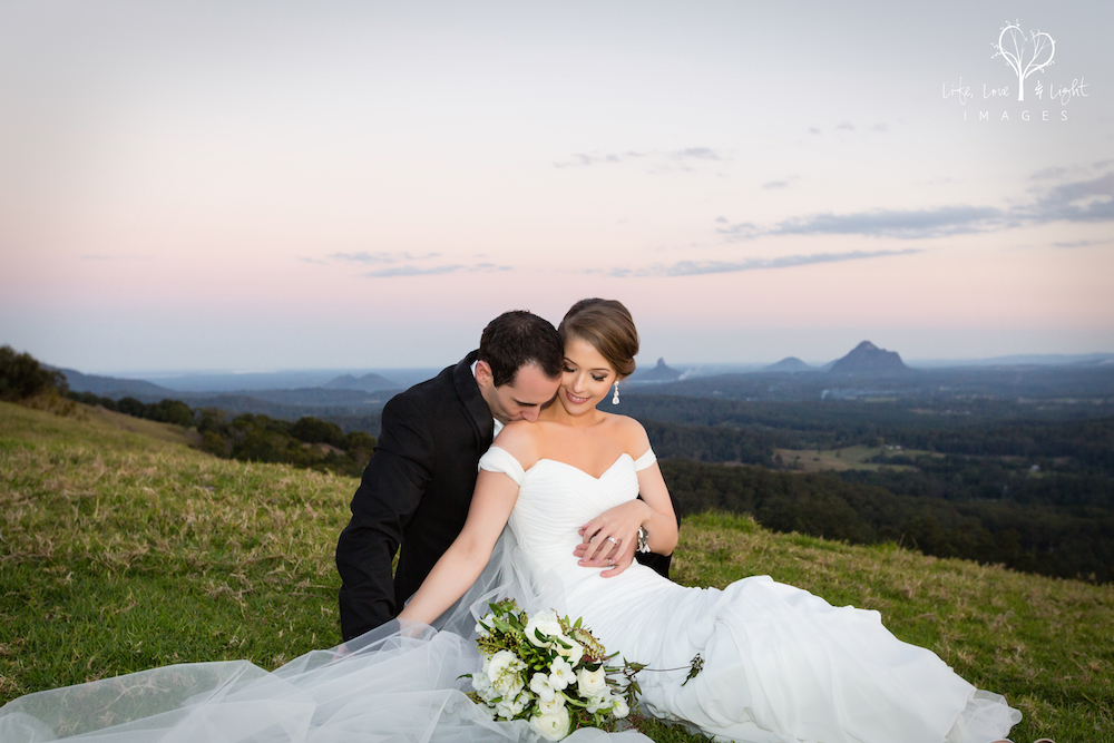 Bride and Groom sit down portraits in Maleny