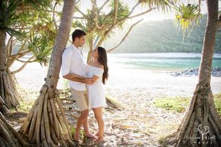 engaged couple at tallebudgera beach